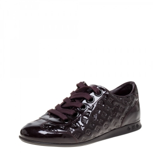 Louis Vuitton Burgundy Monogram Patent Leather Low Top Sneakers Size 35.5