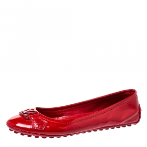 Louis Vuitton Red Patent Leather Oxford Ballet Flats Size 35