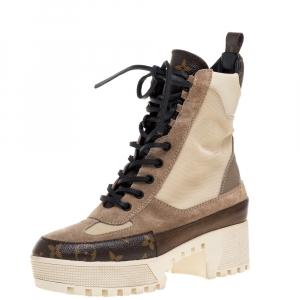 Louis Vuitton Beige/Brown Canvas/Suede/Leather and Nylon Laureate Desert Platform Boots Size 37