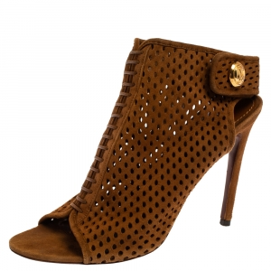 Louis Vuitton Brown Suede Perforated Leather Open Toe Sandals Size 37.5 - used