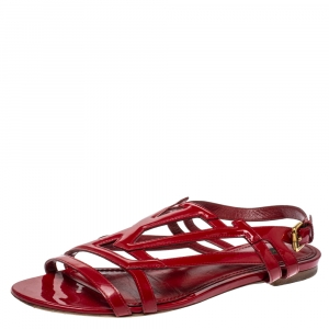 Louis Vuitton Red Patent Leather Crossing Logo Flat Sandals Size 38 - used