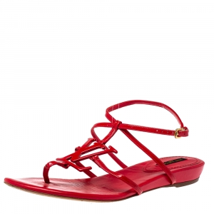 Louis Vuitton Red Patent Leather LV Logo Strappy Flat Sandals Size 39