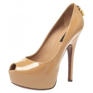 حذاء كعب عالي لوي فيتون او ريالي! مقدمة مفتوحة نعل سميك جلد لامع بيج مقاس 36.5