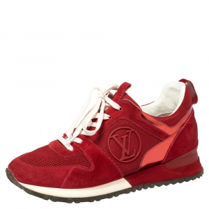 Louis Vuitton Red Suede Leather And Fabric Run Away Sneakers Size 36.5