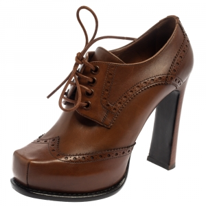 Louis Vuitton Brown Leather Oxford Platform Brogue Leather Booties Size 37 - used