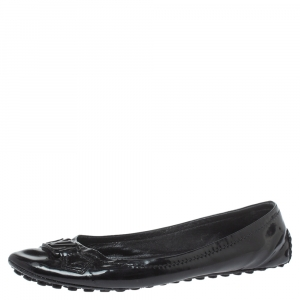 Louis Vuitton Black Patent Leather Oxford Flats Size 40