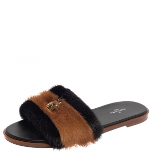 Louis Vuitton Two Tone Mink Fur Lock It Flat Slides Size 38.5