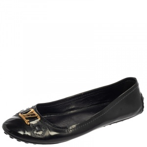 Louis Vuitton Dark Grey Vernis Leather Oxford Ballet Flats Size 38.5 - used