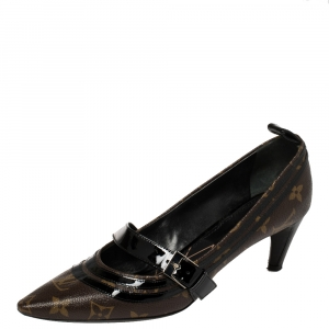 Louis Vuitton Brown Monogram Canvas And Black Patent Leather Trims Star Power Pumps Size 37