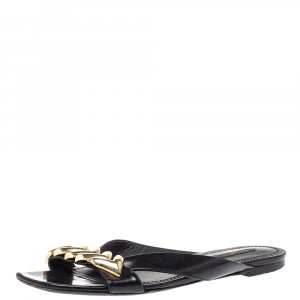 Louis Vuitton Black Leather Embellished Slide Sandals Size 39.5 - used