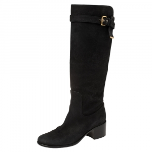 Louis Vuitton Black Textured Nubuck Knee High Buckle Boots Size 37 - used