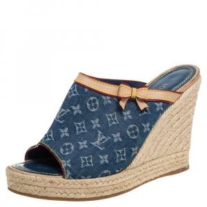 Louis Vuitton Blue/Beige Monogram Denim Espadrille Wedge Mules Sandals 38 - used