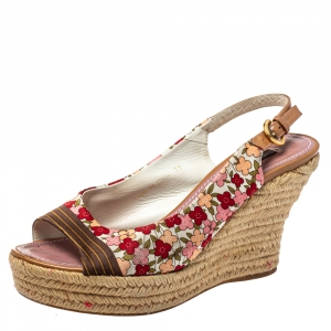 Louis Vuitton Floral Printed Silk Olivia Espadrille Wedge Slingback Sandals Size 39 - used