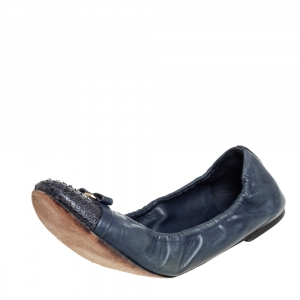 Louis Vuitton Blue Python And Leather Elba Flats Size 39.5 - used