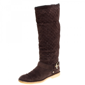 Louis Vuitton Brown Monogram Suede Fauvist Knee Boots Size 39.5 - used