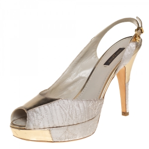 Louis Vuitton Grey Satin And Metallic Gold Leather Motard Piccadilly Peep Toe Platform Slingback Sandals Size 38 - used