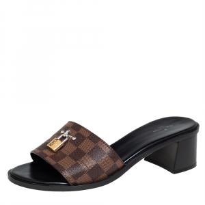 Louis Vuitton Damier Ebene Canvas Lock It Slide Sandals Size 40