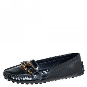 Louis Vuitton Black Patent Leather Oxford Loafers Size 36