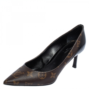 Louis Vuitton Brown/Black Monogram Canvas And Patent Leather Cherie Pumps Size 36.5