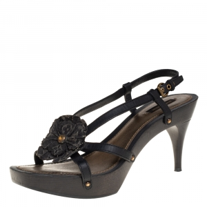 Louis Vuitton Black Leather And Monogram Denim Flower Detail Platform Slingback Sandals Size 39.5