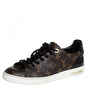 Louis Vuitton Brown/Black Monogram Canvas And Patent Leather Frontrow Low Top Sneakers Size 38