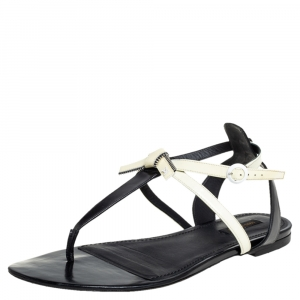 Louis Vuitton Black/Cream Patent Leather And Leather Flat Thong Sandals Size 41 - used