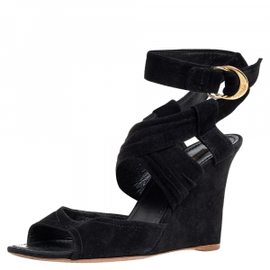 Louis Vuitton Black Suede Strappy Wedge Sandals Size 40