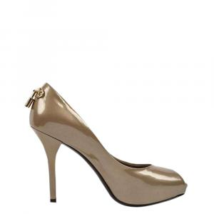Louis Vuitton Bronze Patent Leather Oh Really! Peep Toe Pumps Size 38