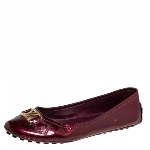 Louis Vuitton Burgundy Vernis Oxford Ballerina Flats Size 38