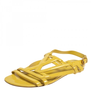 Louis Vuitton Yellow Patent Leather Flat Sandals Size 38