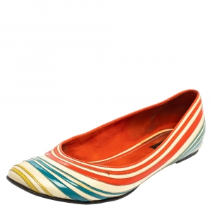 Louis Vuitton Multicolor Leather And Patent Leather Flats Size 39
