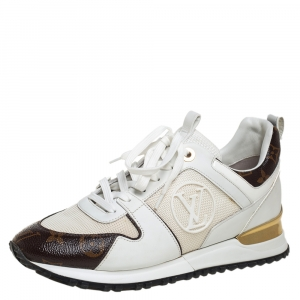 Louis Vuitton White/Brown Mesh And Monogram Canvas Run Away Low Top Sneakers Size 38