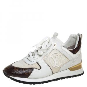 حذاء رياضي لوي فيتون رون اواي منخفض من أعلى كانفاس مونوغرامي و شبك بني و أبيض مقاس 38