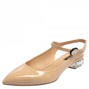 Louis Vuitton Beige Patent Leather Transparent Heel Ankle Strap Sandals Size 39.5