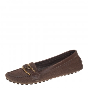 Louis Vuitton Brown Leather And Woven Suede Oxford Slip On Loafers Size 36