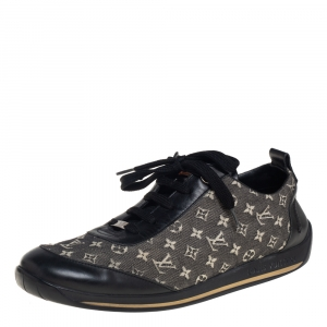 Louis Vuitton Black Leather And Two Tone Mini Lin Monogram Canvas Low Top Sneakers Size 40