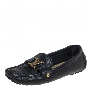 Louis Vuitton Black Leather Monte Carlo Loafers Size 38