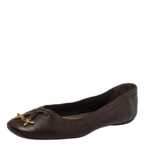 Louis Vuitton Brown Leather Embellished Bow Ballet Flats Size 38