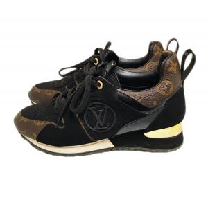 Louis Vuitton Black Suede/Monogram Canvas Run Away Sneakers Size EU 39