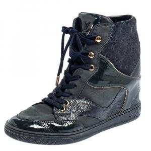 حذاء رياضي لوي فيتون ويدج عنق مرتفع سويدي مونوغرامي و جلد أزرق مقاس 36.5