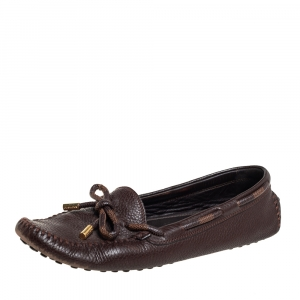 Louis Vuitton Brown Leather and Canvas Slip On Loafers Sze 38.5
