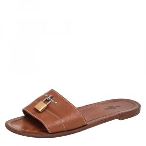 Louis Vuitton Brown Leather Lock It Flat Slides Size 36