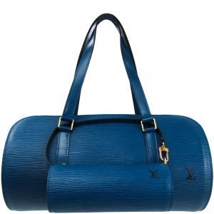 Louis Vuitton Toledo Blue Epi Leather Soufflot Bag