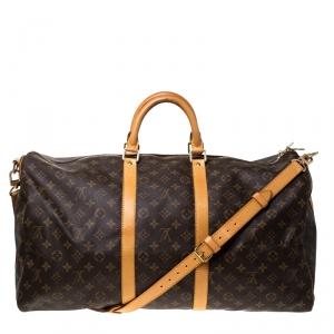 Louis Vuitton Monogram Canvas Keepall Bandoullier 55 Bag