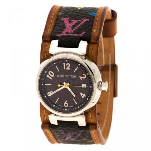 Louis Vuitton Brown Q1211 Tambour Women's Wristwatch