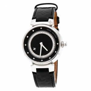 Louis Vuitton Black Stainless Steel Tambour Q1319 Women's Wristwatch 34 mm
