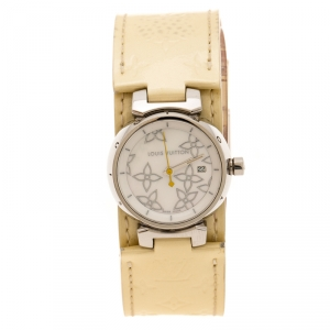 Louis Vuitton Mother of Pearl Stainless Steel Tambour Q121C Women's Wristwatch 28 mm