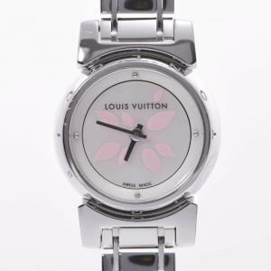 Louis Vuitton White Stainless Steel Tambour Bijou Petal Q1512 Women's Wristwatch 18 MM