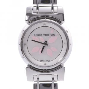 Louis Vuitton White Stainless Steel Tambour Bijou Petal Q1512 Women's Wristwatch 18 MM