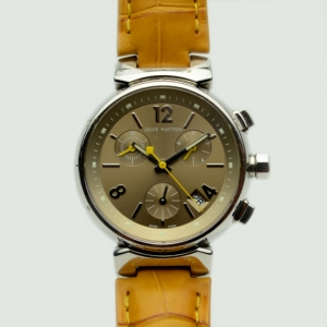 Louis Vuitton Yellow Tambour Chronograph Womens Wristwatch